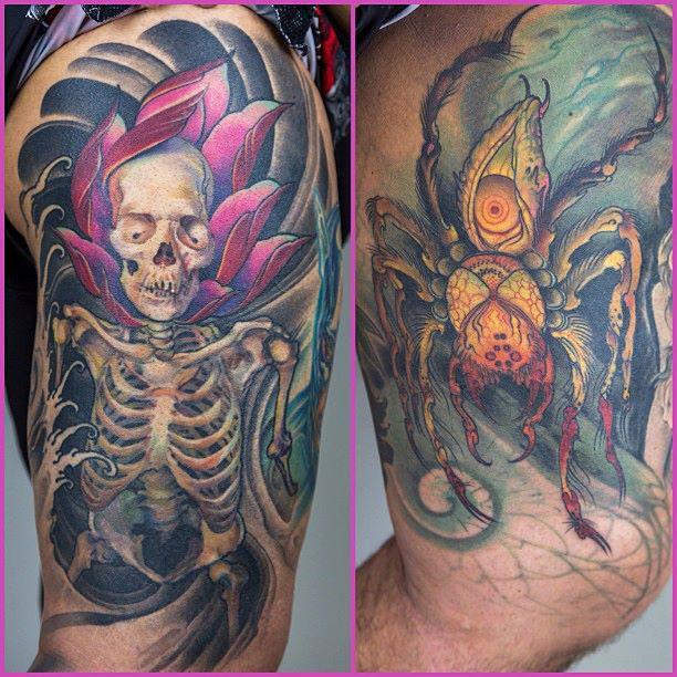 Паук и череп на фотографии татуировки