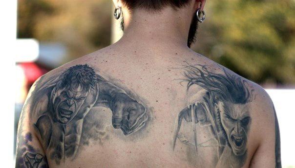 фото тату халка и росомахи на спине (2)