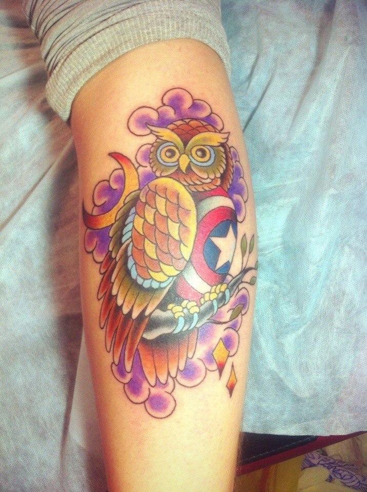 фото татуировки совы Капитан америка