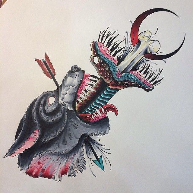 фото цветного эскиза татуировки в виде волка или собаки, из пасти которого вылазит змея