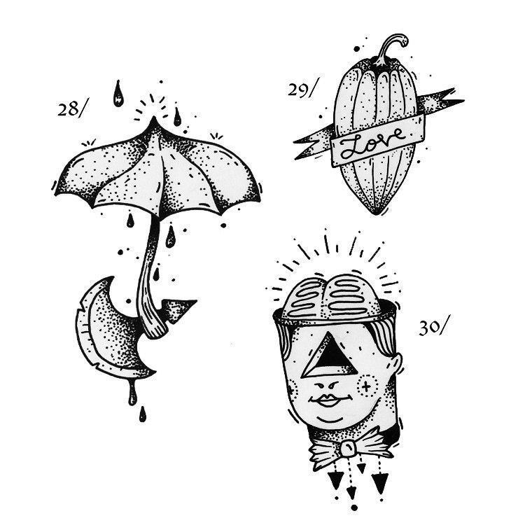 фото черно-белых эскизов татуировок (4)
