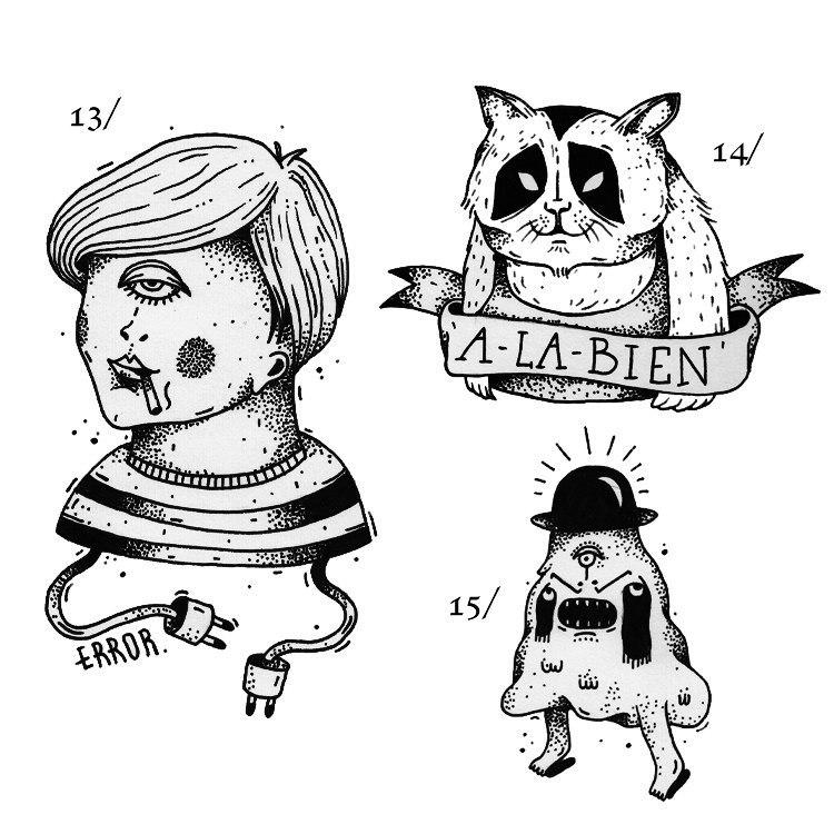 фото черно-белых эскизов татуировок (3)